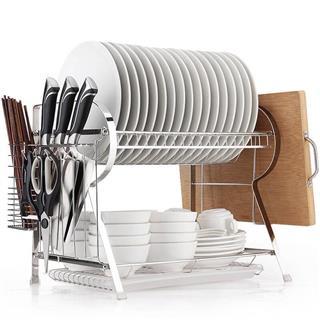 不锈钢双层碗架收纳厨房置物架