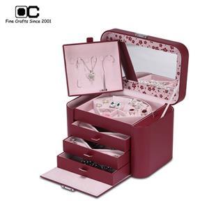OC開合首飾盒超大容量 多功能歐式公主珠寶飾品收納盒 中國紅TG-032