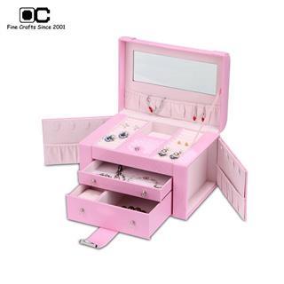 OC開合首飾盒 歐式公主飾品盒 手鏈項鏈 首飾收納盒飾品 粉色YZL-011