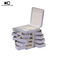 OC开合首饰盒3层 青花瓷饰品收纳盒 木质珠宝项链耳钉盒 大款SD-021