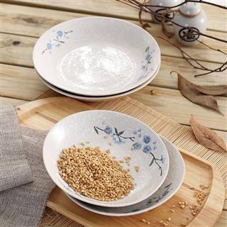 纯手绘雪花釉日式素瓷实用餐具4件套(碗盘随机)
