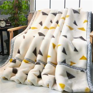 九洲鹿 毛毯家纺 双层盖毯加大加厚拉舍尔毛毯 保暖秋冬毯子(图案随机)