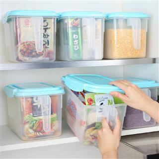 冰箱收纳盒透明塑料保鲜盒带手柄抽屉整理盒 4只装