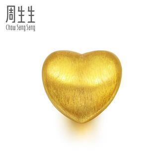 周生生 CHOW SANG SANG 足金黄金手链硬金女Charme串珠心型转运珠吊坠 81322C