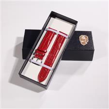 CENSH正红色牛皮竹节纹表带12*10mm