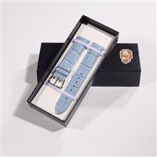 CENSH紫蓝色牛皮竹节纹表带14*12mm
