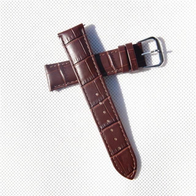 盛时定制深棕色牛皮竹节纹表带21*18MM