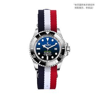 盛时定制蓝白红经典条纹尼龙帆布表带20*20MM