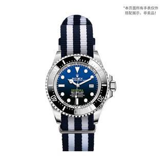 CENSH盛时定制蓝白蓝白蓝经典条纹尼龙帆布表带22*22MM