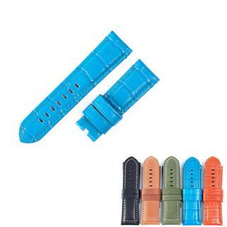 盛時定制藍色牛皮竹節紋表帶 24*22MM適配沛納海平口手表