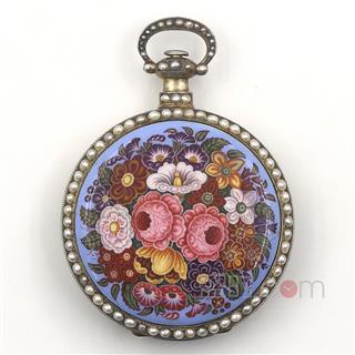 瑞士,弗勒里耶(Swiss Fleurier ) 银鎏金珐琅/珍珠镶边1/4跳秒古董怀表