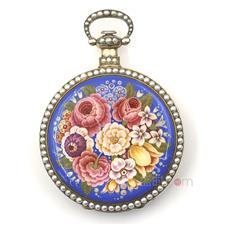 瑞士弗勒里耶(Swiss Fleurier ) 银鎏金珐琅珍珠镶边1/4跳秒古董怀表