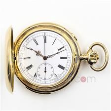罗森布拉特公司(Rosenblatt & Fils) 14K黄金三问报时和计时码全猎古董怀表