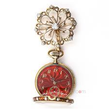 18K黄金/珐琅/钻石/珍珠镶嵌胸针式古董怀表