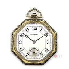 摩凡陀(Movado) 18K黄金珐琅八角形古董怀表