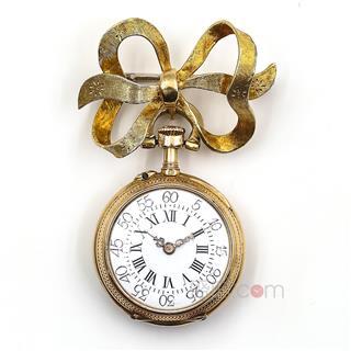瑞士 18K黄金嵌蓝色珐琅绘人物胸针式古董怀表