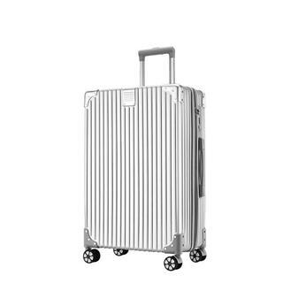 20寸复古直角拉链款旅行箱(银色)