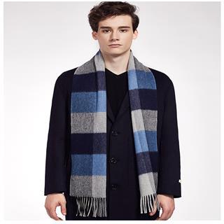 情侣款100%纯羊毛围巾男款(蓝格C8121)