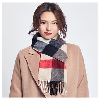 情侣款100%纯羊毛围巾女款(驼格C8120)