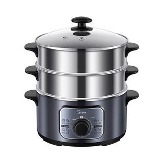 美的(Midea)电蒸锅 三层不锈钢 蒸煮刷焖炖 10升大容量 旋钮操作