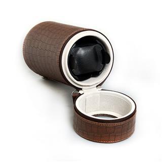 CENSH盛时定制单头摇表器 自动机械上链盒 棕色皮革