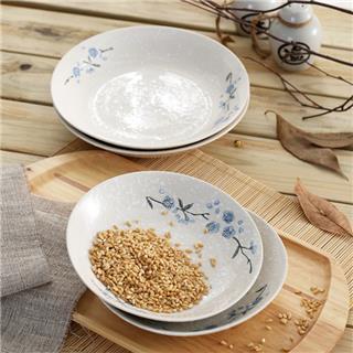 纯手绘雪花釉日式素瓷实用餐具深窝盘4件套