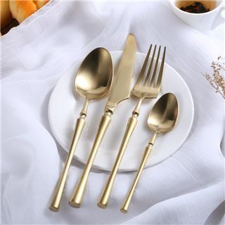 盛時定制西餐餐具不銹鋼牛排刀叉勺套裝(啞光金)
