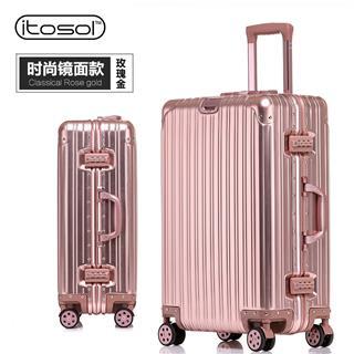 20寸時尚款鏡面全鋁合金行李箱(玫瑰金)