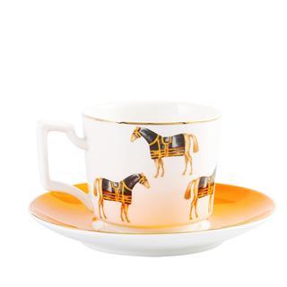 橙色欧式奢华咖啡杯套装下午茶具(1壶+1奶壶+1糖罐+4套杯碟)