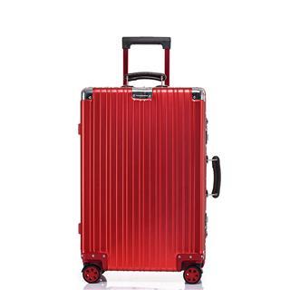 26寸复古款镜面全铝合金行李箱(新年红)