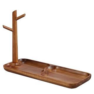 实木进门口玄关钥匙收纳盒 桌面置物架挂创意摆件(相思木长款)