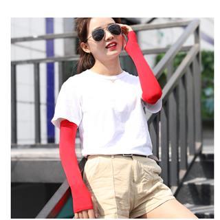 Joyroom冰爽防晒袖套 长款夏季防晒开车手臂套冰丝袖护(红色)