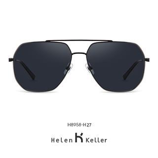 Helen Keller海伦凯勒男款太阳镜 2020年新款简约个性潮墨镜男性偏光潮流开车太阳镜H8958H27(深灰色)