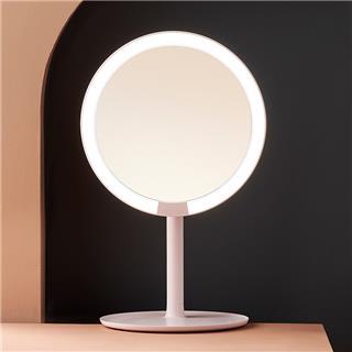Amiro化妆镜 mini便携网红少女台式桌面led带灯光美妆卧室收纳镜子(白色)