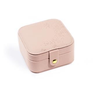 复古压花首饰收纳盒 便携式首饰盒(粉色)