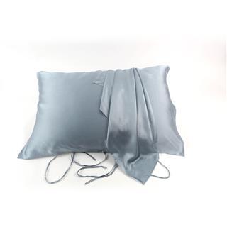 Prime Time盛时定制真丝枕巾 19姆米重磅100%桑蚕丝枕头巾透气舒适丝滑(灰蓝色)