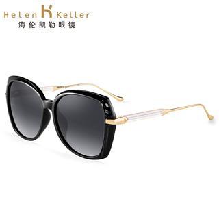 Helen Keller海伦凯勒太阳镜女款 网红款时尚潮流偏光墨镜圆脸太阳镜女士修脸偏光眼镜H8733(黑框渐进片P01)