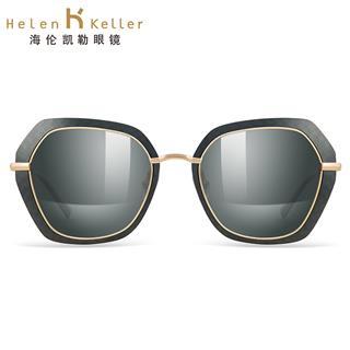Helen Keller海伦凯勒高清偏光太阳镜 女墨镜大框驾驶开车新品明星同款防紫外线可配近视眼镜H8718(黑金框+黑金镀膜镜片P15)
